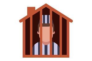 prisão domiciliar para um criminoso. longo auto-isolamento em sua casa. ilustração em vetor plana isolada no fundo branco.