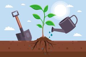 plante uma muda no solo. ferramentas de jardinagem. ilustração vetorial plana.