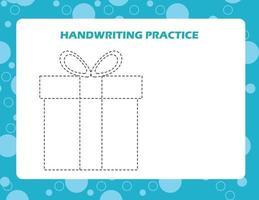 trace as linhas com caixa de presente de desenho animado. prática de habilidades de escrita. vetor