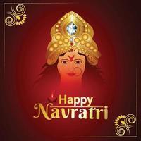 ilustração de shubh navratri com a deusa durga vetor