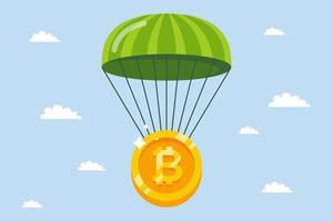 bitcoin cai de paraquedas. garantir criptomoedas contra a crise. ilustração vetorial plana. vetor