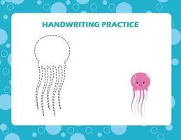 trace as linhas com terra de água-viva. prática de habilidades de escrita. vetor