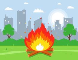 fazer uma fogueira no parque, no gramado. ilustração vetorial plana. vetor