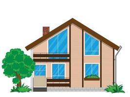 a fachada de uma casa com arbustos e uma árvore em um fundo branco. o prédio tem dois pisos e uma varanda. vetor