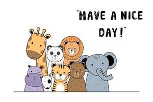 animais fofos do safari cumprimentando cartão colorido do estilo do doodle vetor
