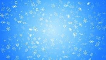 neve branca voa sobre um fundo azul. flocos de neve de natal. ilustração de fundo de nevasca de inverno. vetor