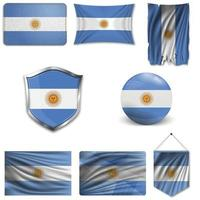 conjunto da bandeira nacional da argentina em desenhos diferentes em um fundo branco. ilustração vetorial realista.