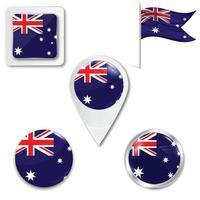 conjunto de ícones da bandeira nacional da Austrália em diferentes designs em um fundo branco. ilustração vetorial realista. botão, ponteiro e caixa de seleção. vetor