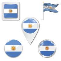 conjunto de ícones da bandeira nacional da argentina em diferentes designs em um fundo branco. ilustração vetorial realista. botão, ponteiro e caixa de seleção. vetor