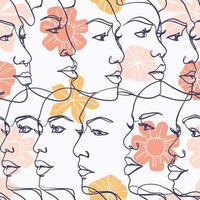 mulheres bonitas enfrentam arte de linha vetor