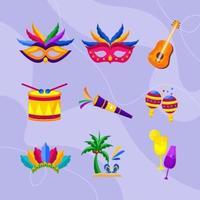 coleção de ícones de carnaval vetor