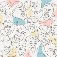 rostos engraçados arte de linha minimalista vetor