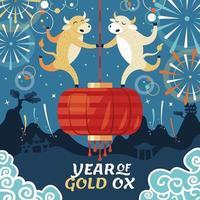 celebração do ano chinês do boi dourado de 2021 vetor