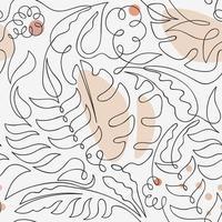 padrão sem emenda floral de uma linha de arte vetor
