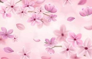 fundo de primavera com floral realista vetor