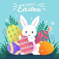Feliz Páscoa com coelho fofo segurando ovo vetor