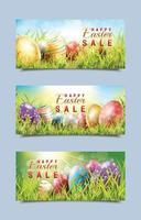 feliz venda de páscoa com banner de ovos de páscoa vetor