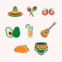 coleção de ícones de festa de objetos cinco de Mayo vetor