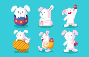 coleção de personagens do coelhinho da páscoa vetor