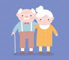 feliz dia dos avós, vovô com bengala e cartão de desenho de personagem de vovó vetor