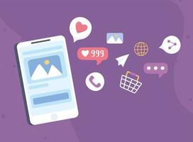 smartphone para conceito de mídia social vetor