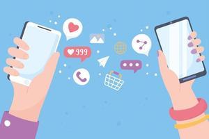 mãos com smartphones, conceito de mídia social vetor
