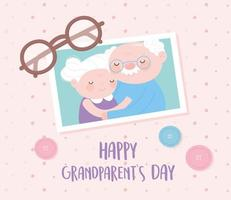 feliz dia dos avós, foto fofa com glsses do vovô e da avó e cartão de desenho animado de botões vetor