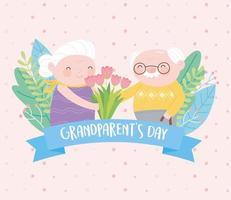 feliz dia dos avós, vovó e vovô engraçados com cartão de desenho de flores vetor