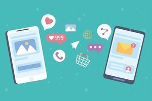 smartphones para conceito de mídia social vetor