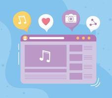site para conceito de mídia social vetor