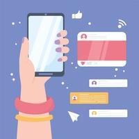 mão com smartphone, conceito de mídia social vetor