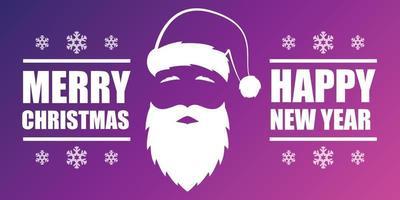 Feliz Natal e feliz ano novo design de cartão banner com Papai Noel.