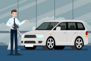 um feliz empresário, o vendedor se levanta e apresenta seu carro de luxo estacionado no show room. vetor