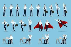 conceito de design plano de empresário com diferentes poses, trabalhando e apresentando gestos, ações e poses do processo. vetor