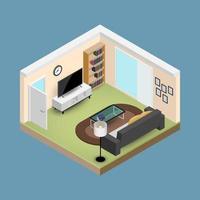 sala conceito, composição isométrica 3d com um sofá e uma tv de tela grande, uma sala de estar com vários móveis, uma janela e uma porta aberta de design moderno. vetor