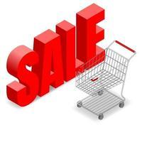 isométrico 3d carrinho de compras de supermercado para loja de conveniência, isolado no fundo branco. vetor