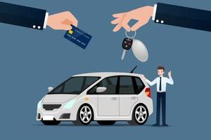 o concessionário faz uma troca, venda, aluguel entre um carro e o cartão de crédito do cliente. desenho de ilustração vetorial. vetor