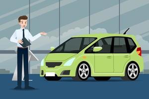 um empresário feliz, o vendedor está de pé e apresenta seu carro de luxo que estacionou no show room.vector ilustração design. vetor