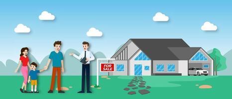 o corretor de imóveis mostra o novo belo e moderno imóvel à venda para cliente com família. ilustração vetorial em design plano. vetor