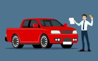feliz empresário, o vendedor apresenta seu veículo para venda ou aluguel. empresários ou revendedor de automóveis, mostra sua nova pick-up no showroom. vetor