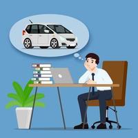 empresário pensando ou sonhando em comprar um carro novo e moderno e bonito. um funcionário tem como objetivo possuir um veículo pessoal e trabalhar para o sucesso. desenho de ilustração vetorial.