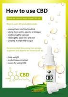 como usar cbd, usos médicos para óleo cbd de planta de cannabis, pôster vertical com garrafa de vidro transparente de óleo cbd médico e folha de cânhamo vetor