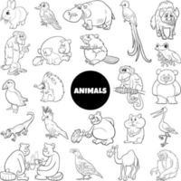 grande conjunto de personagens de animais selvagens de desenhos animados em preto e branco