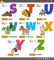 letras do alfabeto de desenho animado educacional para crianças definidas de s a z vetor