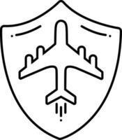 ícone de linha para seguro de viagem vetor