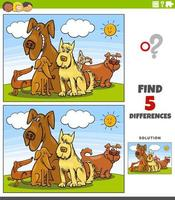 diferenças jogo educacional com grupo de cães de desenho animado vetor