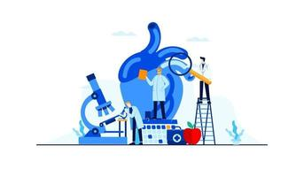 ilustração plana de doença cardíaca pesquisa de estudo de médico para design de conceito de tratamento vetor