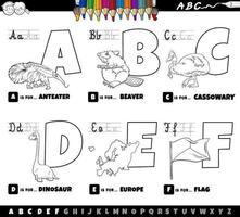 letras do alfabeto de desenhos animados educacionais definidas de a a f página do livro de cores