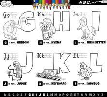 letras do alfabeto de desenhos animados educacionais definidas de g para l página do livro a cores