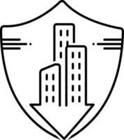 ícone de linha para seguro de condomínio vetor